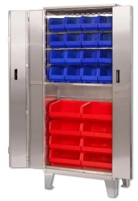 Economy Stainless Steel Storage Cabinets With Plastic Bins