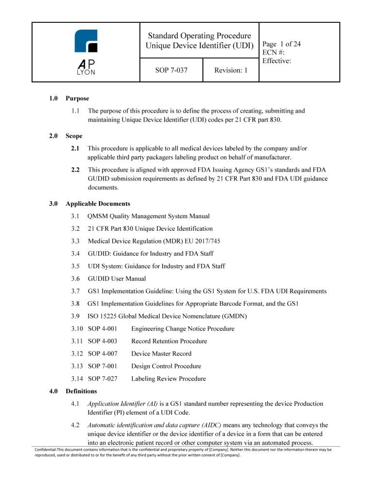 Unique Device Identification (UDI) Procedure