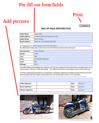 Motorcycle Bill of Sale - Free Blank Form