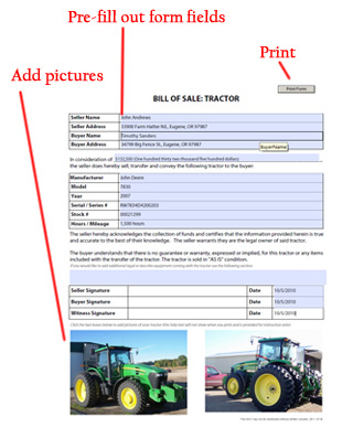Tractor Bill of Sale - Free Blank Form - equipment bill of sale
