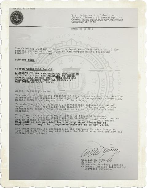 FBI Apostille Example