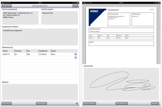 Screenshot iPad App Stundenbericht