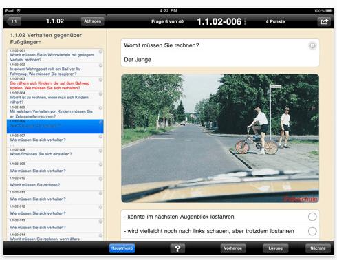 Screenshot iFahrschule für das iPad