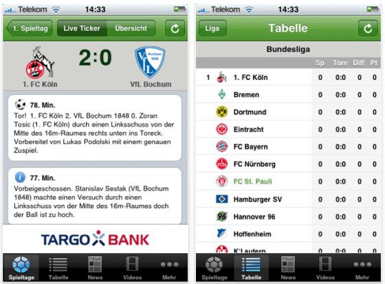 Screenshot iLiga für iPhone und iPod Touch
