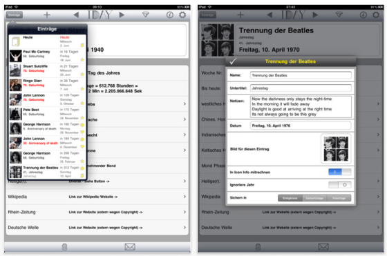 Screenshot iDay für iPad