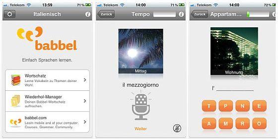 Kostenlose Vokabeltrainer für iPhone, iPod Touch und iPad in sieben Sprachen
