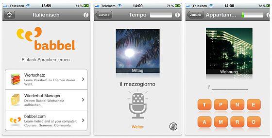 Screenshot babbel Vokabeltrainer Italienisch