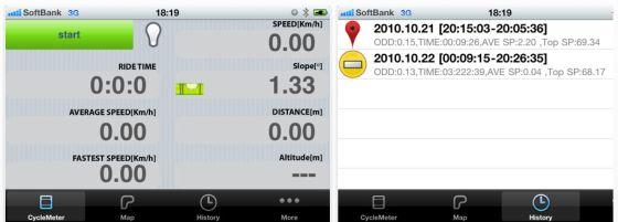 Screenshot der Fahrradcomputer-App Cyclemeter