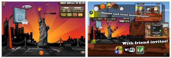 Drei Orte mit unterschiedlichen Animationen stehen zum Körbe werfen zur Verfügung. Besonders die Möglichkeit für Online-Spiele und Spiele gegen Gegner vor Ort machen das Spiel besonders.