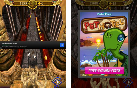 Pyramid Run Screenshots mit Werbung