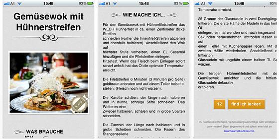 Bauchalarm macht auf dem iPhone oder iPad kostenlos Vorschläge für Mittag- und Abendessen