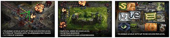 Verteidige Dich in Epic Wars gegen hunderte Wellen von Angreifern in 15 Leveln.