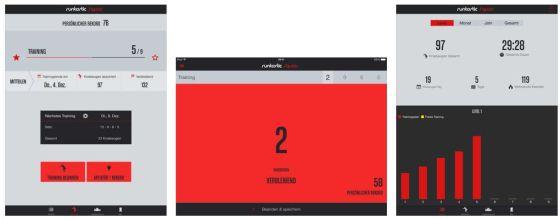 Die App runtastic Squats Pro zählt Deine Kniebeugen mit, erstellt Statistiken und erinnert Dich auch an das sprachunterstütze Aufbautraining.