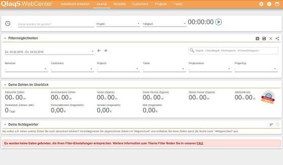 Das Web-Center synchronisiert sich mit Deinen Mobilgeräten und bietet zahlreiche Zusatzfunktionen, insbesondere für das Arbeiten im Team und die Abrechnung mit Kunden. Hier ist es noch leer...