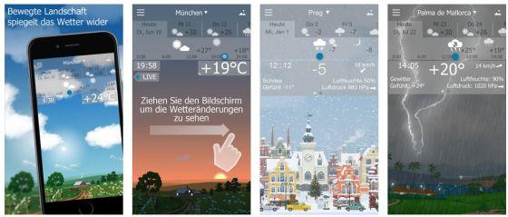 Die App YoWindow zeigt nicht nur Animationen vom Wetter - auch der Sound passt zur Umgebung und dem aktuellen Wetter (den Ton kann man aber in den Einstellungen auch ausschalten).