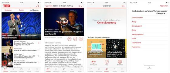 Über 2000 Vorträge zu den verschiedensten Themen findest Du in der kostenlosen App TED.