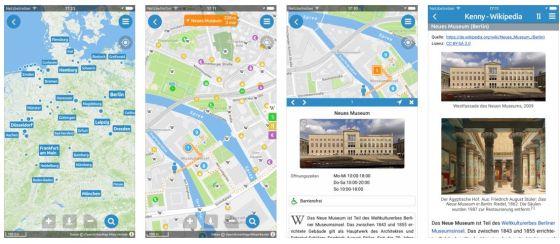Mit Kenny kannst Du in vielen Städten Deutschlands geführte Touren machen, Wissenswertes zu Sehenswürdigkeiten lesen und in der Umkreissuche Restaurants, Kinos, Museen, Parks, Geldautomaten und U-Bahnen finden.