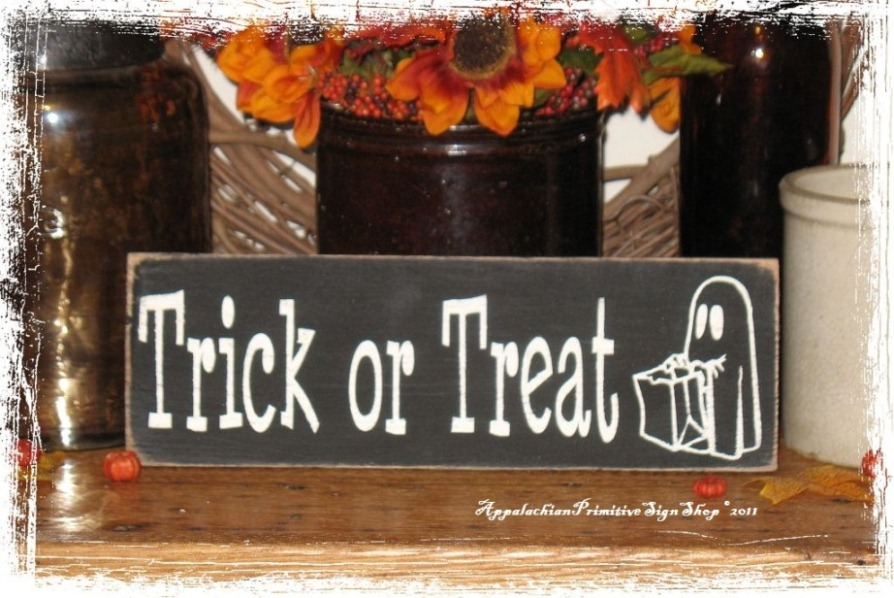 Trick Or Treat With Cute Ghost Wood Sign Halloween Decor