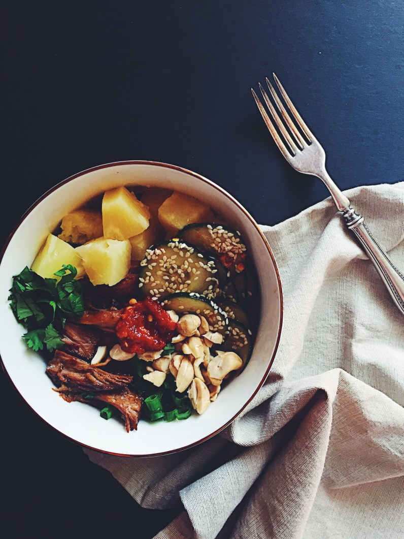 Slow Cooker Pork Bowls with Sesame Ginger Cucumbers