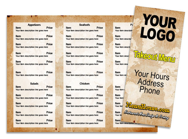 Restaurant menu printing Palmetto Bradenton Sarasota - sample menu template