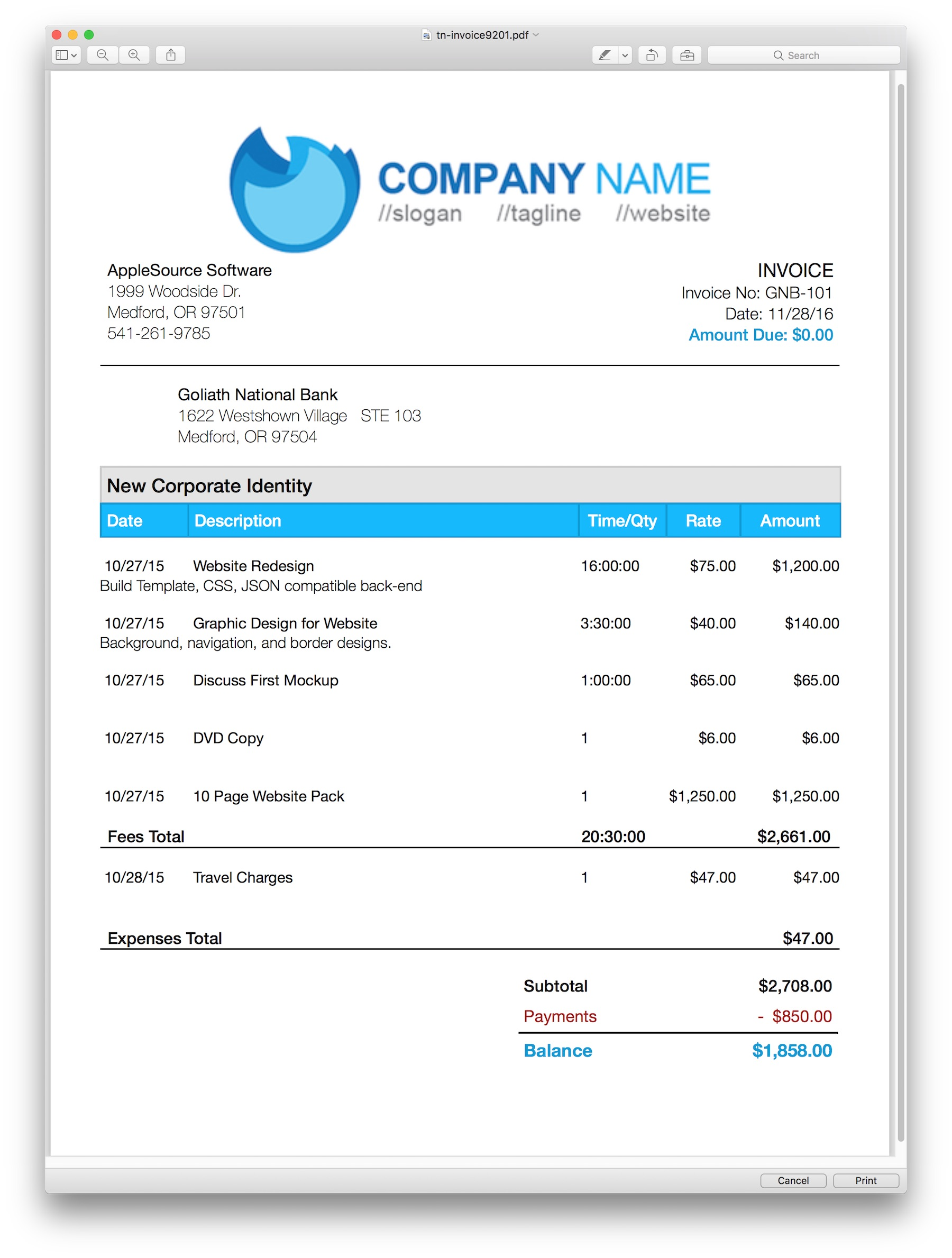 professional invoice templates