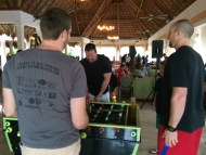 Tommy Greene and Erik Kratz playing foosball with the phancationers