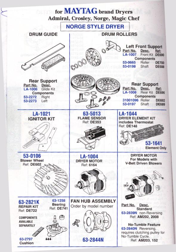 White Westinghouse, Frigidaire, Magic Chef Dryers Appliance Aid