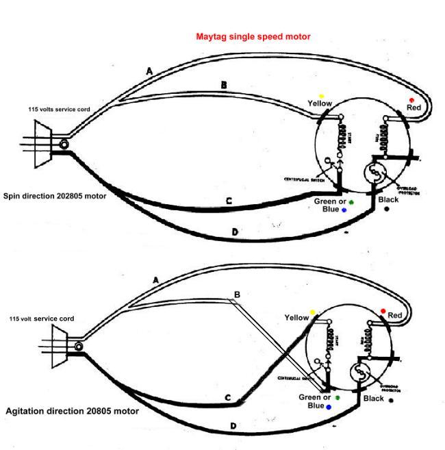 straight a washing machine motor wiring