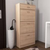Oak Effect Shoe Cabinet / Shoe Rack with 4 drawer storage ...