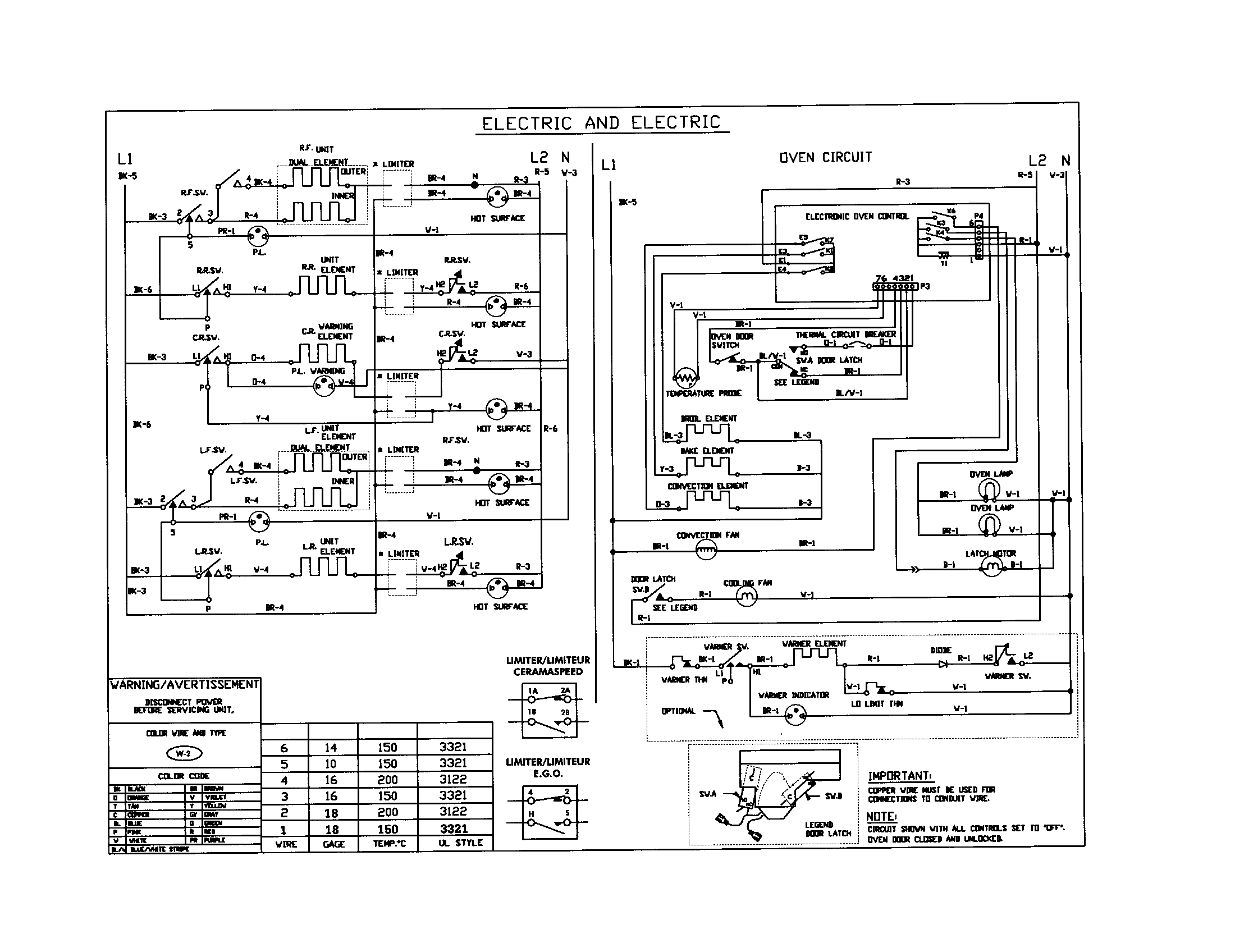wiring diagram for electric stove top