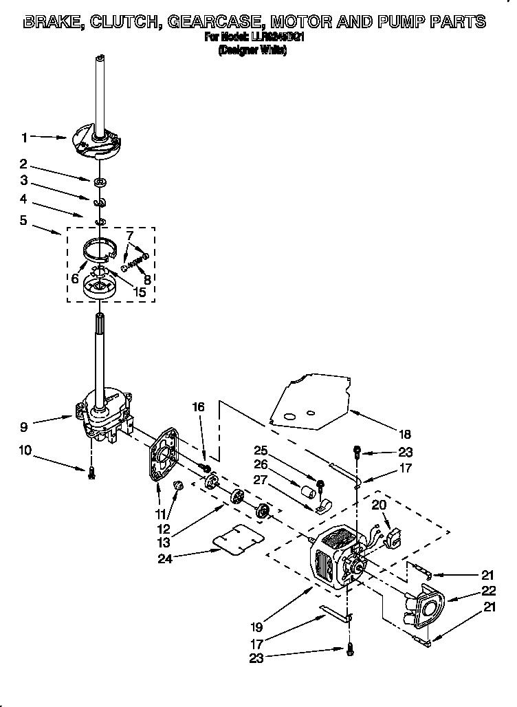 brake clutch gearcase motor and pump