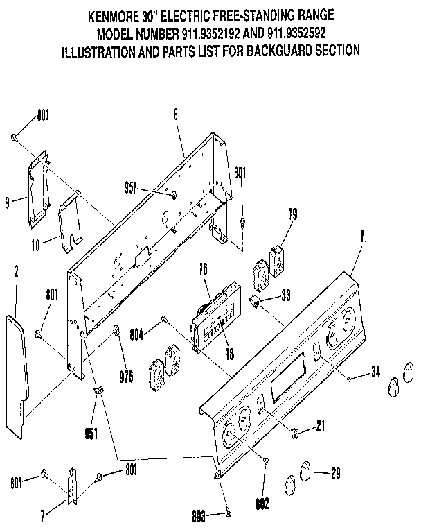 9119352192 electric stand range door lock section parts diagram