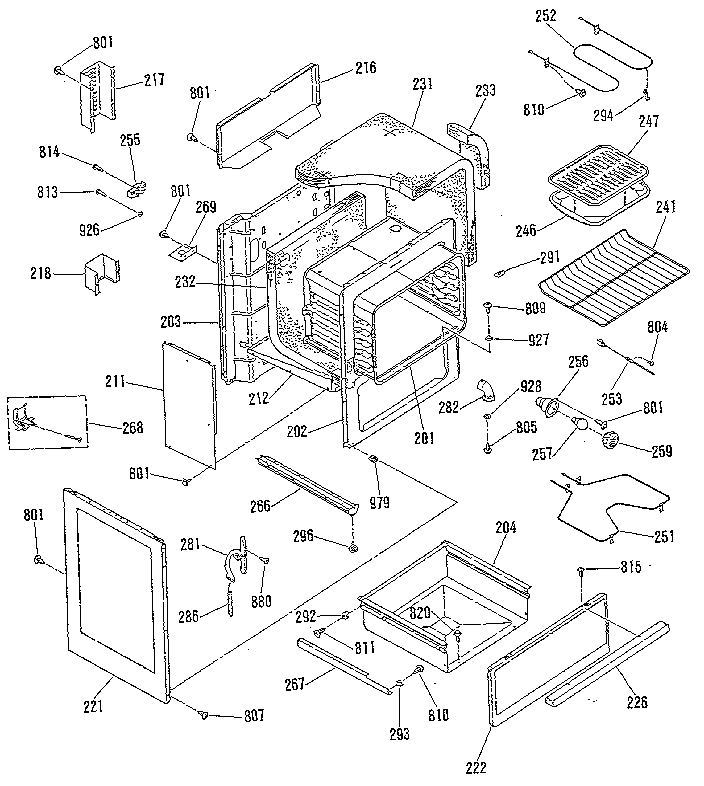 9119369181 electric range door lock section parts diagram