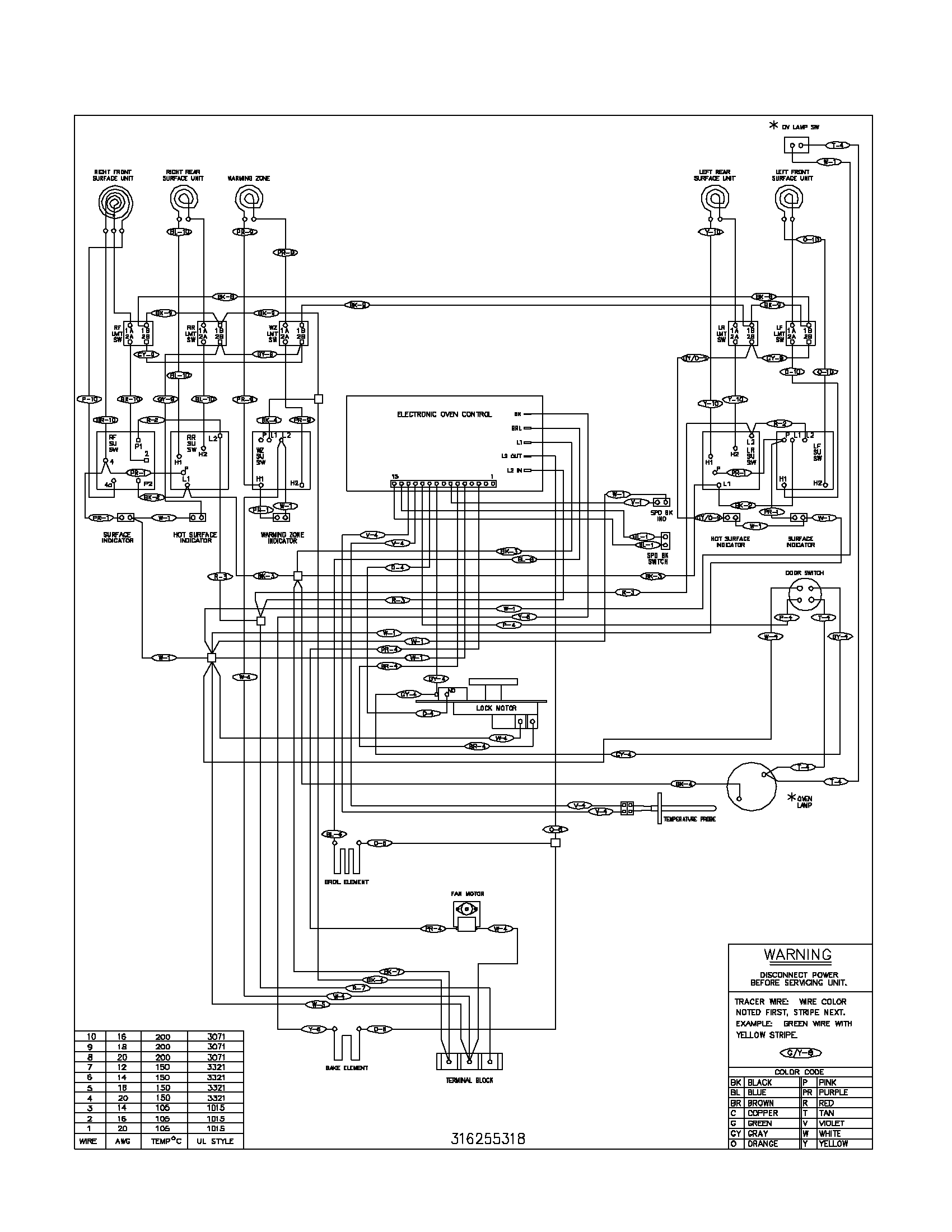 wiring diagram for oven control