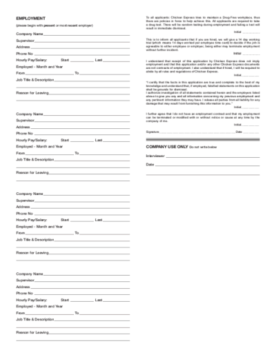 Free Printable Chicken Express Job Application Form Page 2