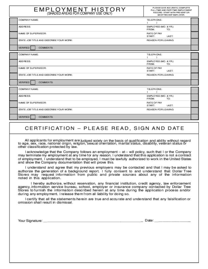 Employment Application Ymca – Dollar Tree Application Form