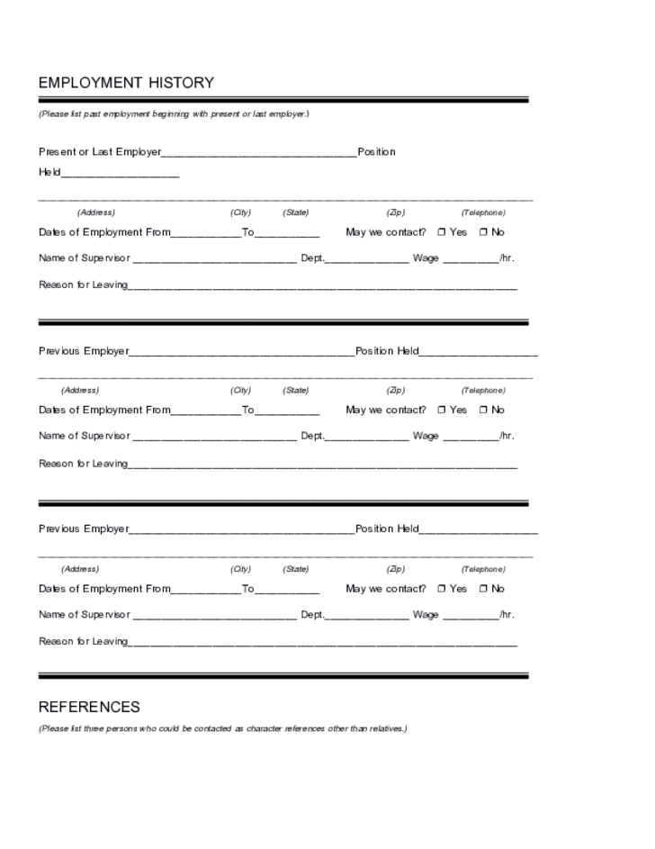 Printable Job Application Form For Party City | College Student ...