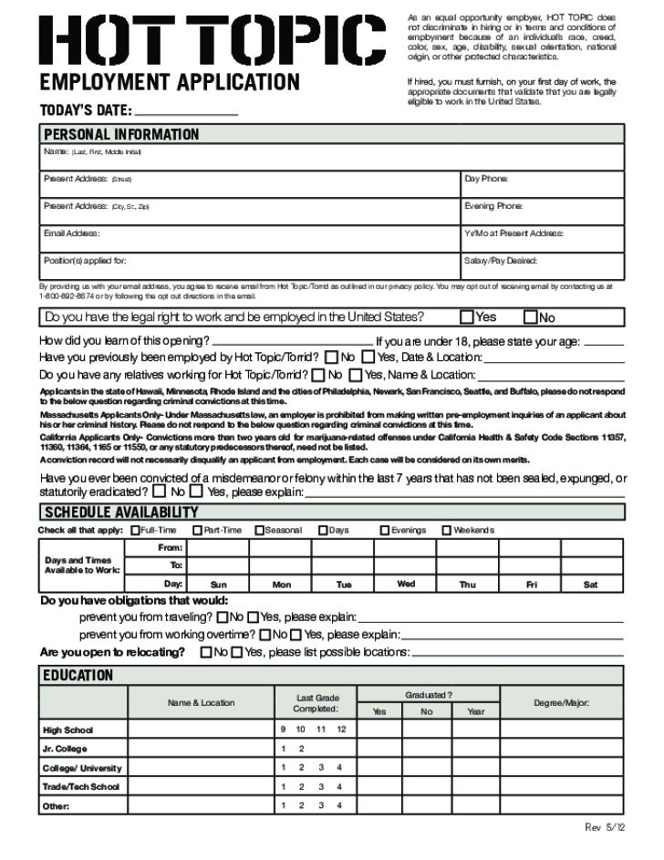 Printable Job Applications Free Printable Hot Topic Job Application Form