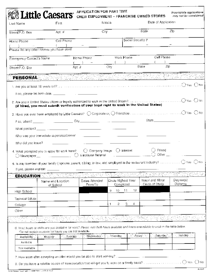 Our Job Application Process Tenet Health Free Printable Little Caesars Job Application Form