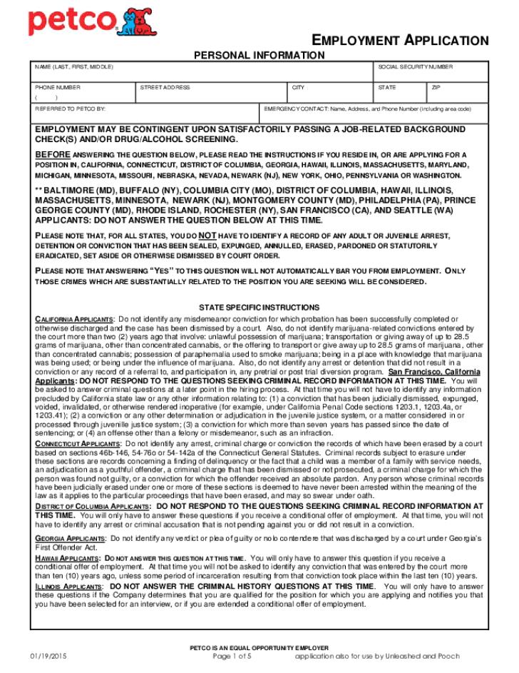 Employment application us professional resume cv maker employment application us employment training administration eta us free printable petco job application form spiritdancerdesigns Images