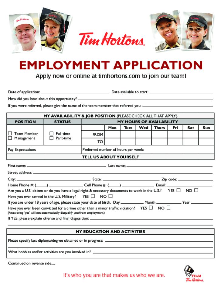 Application For Employment Printable Job Applications Online Free Printable Tim Hortons Job Application Form