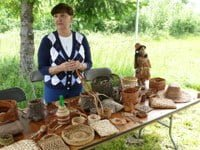 Connie Graves of the Confederated Tribes of the Grand Ronde demonstrates weaving and baskets