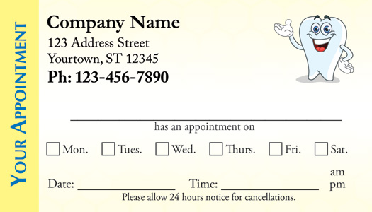 Sample Appointment Card Template Appointment Card Template
