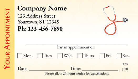 Medical Appointment Cards - Doctors appointment cards - sample appointment card template