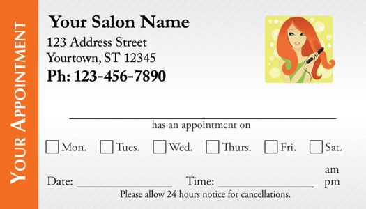 Hair Salon Appointment Cards - AppointmentCardCentral - sample appointment card template