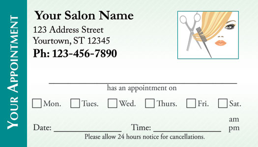 Hair Salon Appointment Cards - AppointmentCardCentral