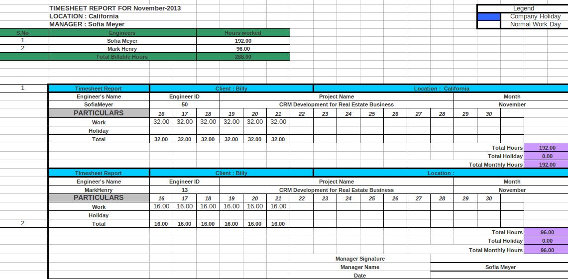 Timesheet Format Xls – Sample Project Timesheet