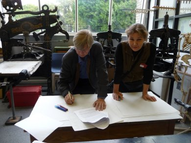 Kari presented his research on wood for woodblock printing.