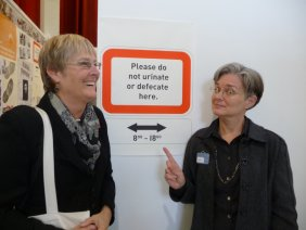 Diane Fox and Teresa Jaynes check out the poster presentations