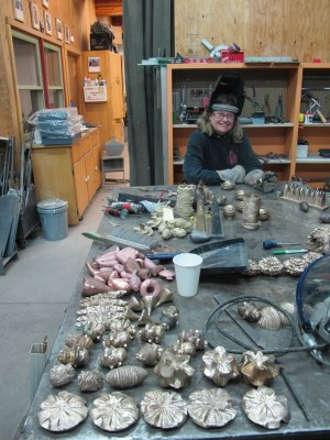 Mary in the sculpture studio